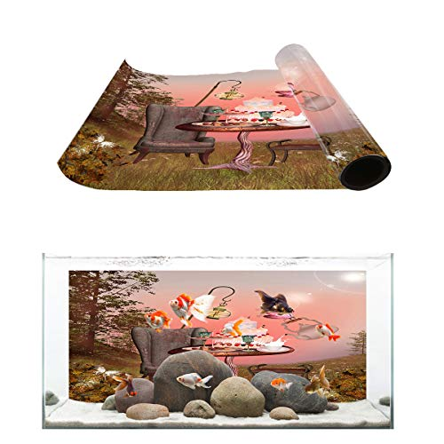 (Fantasy Star Aquarium Background Fairyland Banquet Delicious Desserts Fish Tank Wallpaper Easy to Apply and Remove PVC Sticker Pictures Poster Background Decoration 20.4