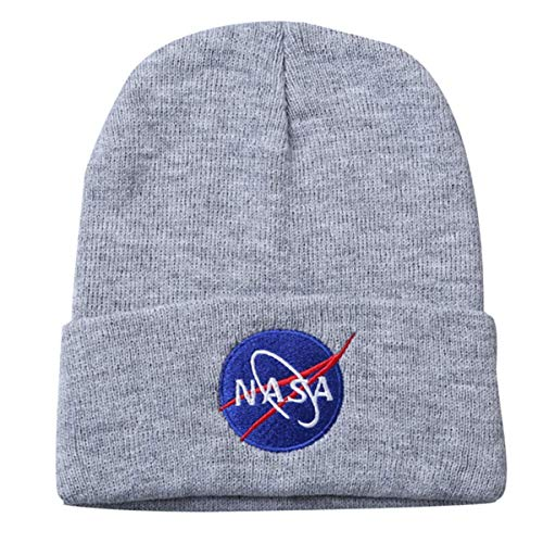 BAIMORE NASA Fine Finished Embroidered Hip Hop Knitting Hat Grey