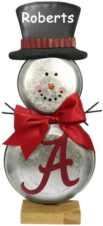 The Trendy Turtle Personalized Alabama Crimson Tide Metal Snowman Table Topper Christmas Decoration Decor with Custom Name