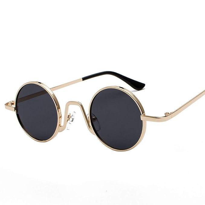 AAMOUSE Gafas de Sol Punk Gafas de Sol Redondas Cara pequeña ...