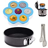 Non-Stick Springform Pans Set for Instant Pot - 7 Inch Springform Cake Pan and Silicone Egg Bites Molds Fits 6, 8 qt Instant Pot & Pressure Cooker - Kitchen Tongs Free