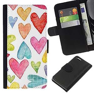 All Phone Most Case / Oferta Especial Cáscara Funda de cuero Monedero Cubierta de proteccion Caso / Wallet Case for Apple Iphone 5C // Watercolor White Colorful Love