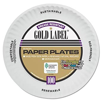 Amazon.com: AJM embalaje Coated Gold Label Paper Plate, 9 ...