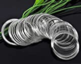 PEPPERLONELY Brand Silver Tone Memory Beading Wire for Bracelet 50mm-55mm Dia. Sold Per Pack of 200 Loops