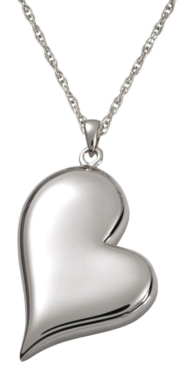 Memorial Gallery 3746s Teardrop Heart Sterling Silver Cremation Pet Jewelry