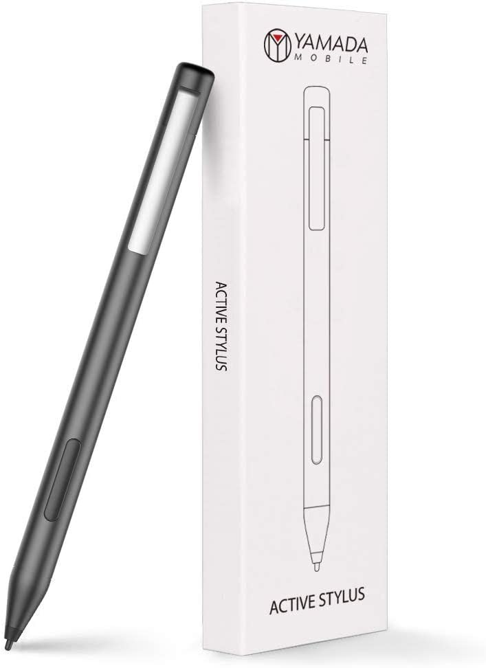 Yamada - Active Surface Pro Pen (Black) Palm Rejection Pencil with 1024 Levels of Pressure Sensitivity Digital Stylus, Fine Tips compatible for Microsoft Surface PRO5, 6, 7, Studio, Go, Book & Tablets