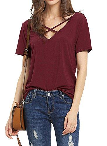 Dutebare Women Criss Cross Shirt Deep V Neck Short Sleeve Tops Casual Tee Blouse Wine Red M