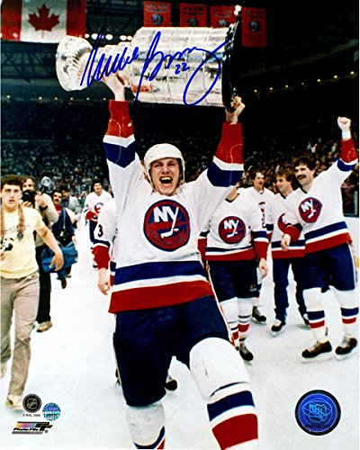 Mike Bossy Signed With Cup Over Head 8x10 (Mike Bossy Memorabilia)