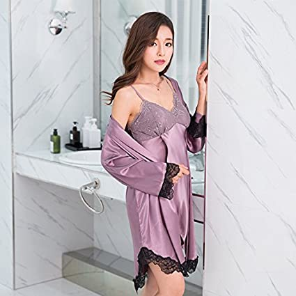 WXIN /Mujer Pijama De Manga Larga De Verano /Hielo Sling Camisón De Seda De