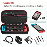 OasisPro Nintendo Switch Travel Carrying Case,Protective Storage bag Hard Travel Case with 20 Game Cartridges, Black/blue