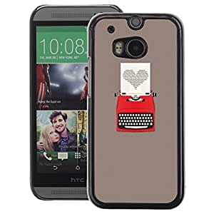 A-type Arte & diseño plástico duro Fundas Cover Cubre Hard Case Cover para HTC One M8 (Heart Writing Love Writer Grey)