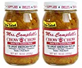 Mrs. Campbell's All Natural Hot Southern Chow Chow Relish, 16 Oz Glass Jar (Pack of 2)