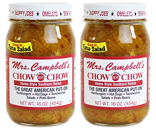 Mrs. Campbells All Natural Hot Southern Chow Chow Relish, 16 Oz Glass Jar (Pack of 2)