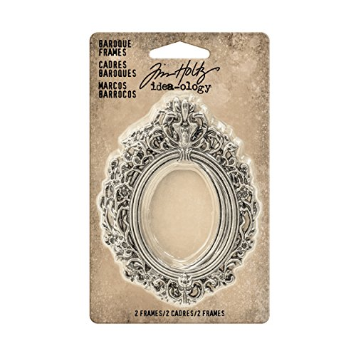 Tim Holtz Idea-ology Baroque Frames 2-Pack, 2.25 x 3 Inches Each, Antique Nickel Finish (TH93267)