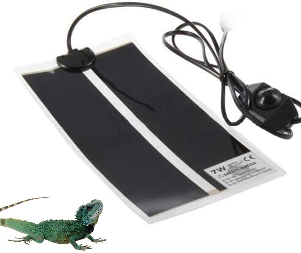KOBWA Reptile Heating Pad Mat, Adjustable Reptile Tank Warmer Mat with Temperature Controller, Fits for Turtle, Snakes, Lizard, Gecko (US Plug)