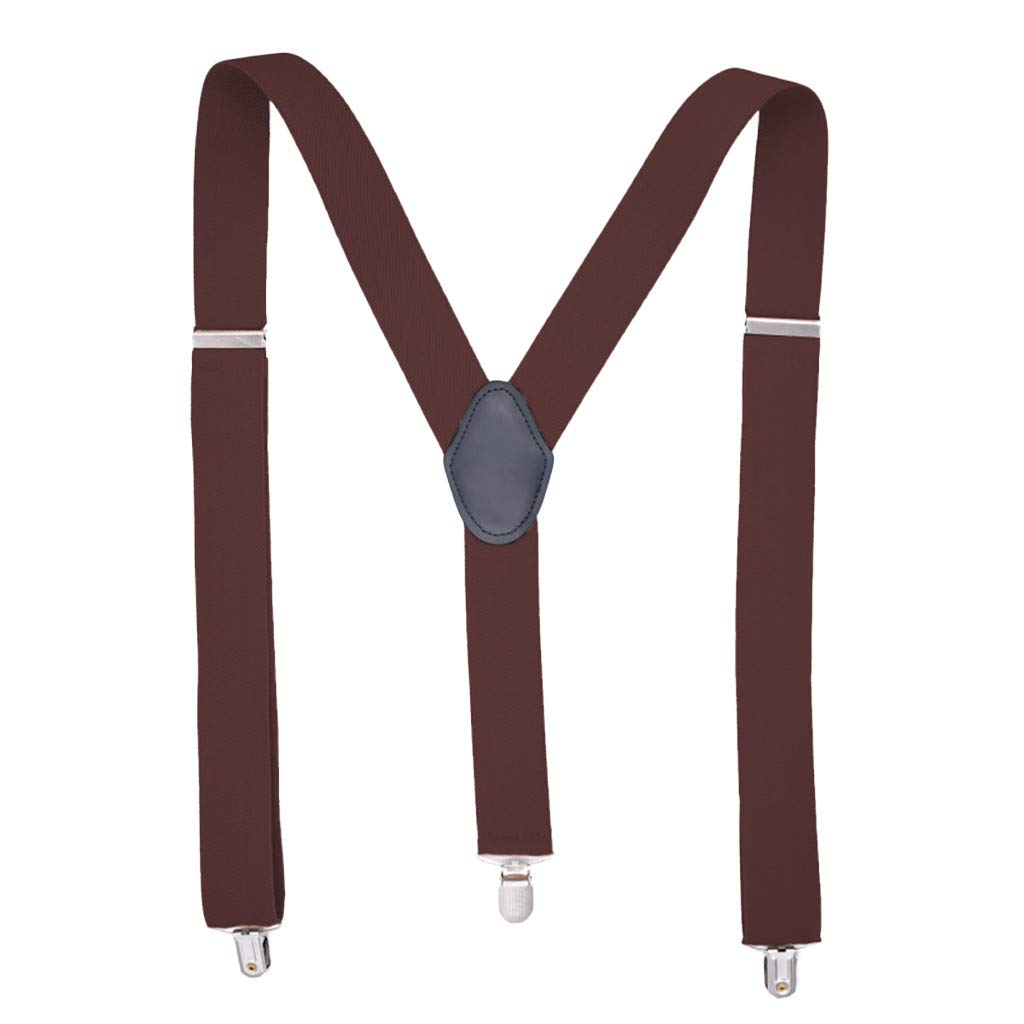 Suspenders for Men X-Back 1.5'' Wide Adjustable Solid Straight Clasps Suspenders Length 48'' -6 Styles Multicolor (F-Coffee) by Yezijin (Image #1)