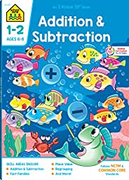 School Zone - Addition & Subtraction Workbook - 64 Pages, Ages 6 to 8, 1st & 2nd Grade Math, Place Val