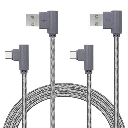 APFEN Right Angle Type C Cable, (2 Pack 10ft) USB to USB C Cable Nylon Braided Fast Charger Cord for Samsung Galaxy S9 Note 9 8 S8 Plus,Google Pixel XL 2,LG G7 thinq V20 V30,Moto Z Z2 Z3 Force (Gray)