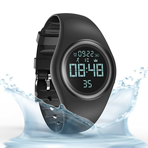 Synwoo Pedometer Smart Watch IP68 Waterproof Sport Wristwatch Fitness Tracker with Step Distance Calorie Alarm Clock and Timer Function for Kid Teenager and Adult (Black & Grey) by Synwoo (Image #1)