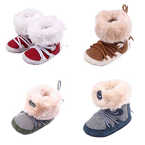 Smile YKK Winter Warme Baby Schuhe krippeschuhe krabbelschuhe Lauflernschuhe 11 Rot Kaffeebraun