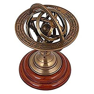 """THORINSTRUMENTS (with device) 5"""" Nautical Brass Armillary Sphere World Globe Rosewood Base Table Decor Gift"""
