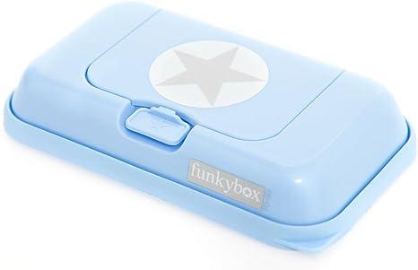 Funkybox - Pequeña cajita para toallitas húmedas - Azul con gris ...
