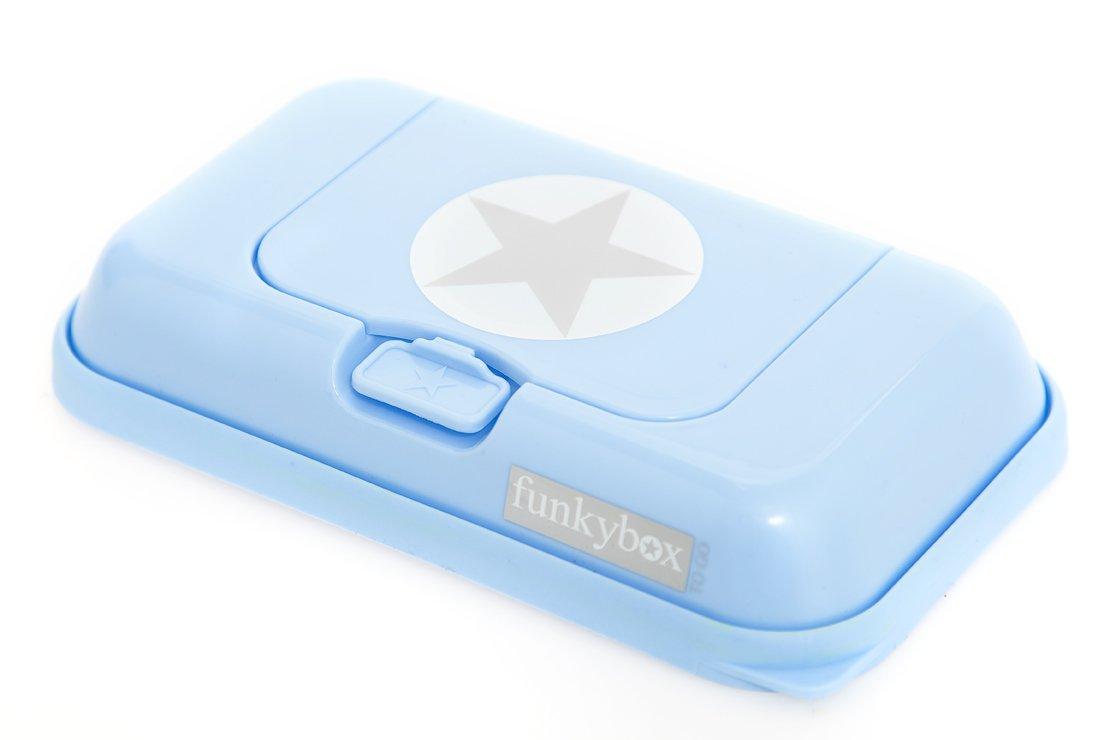Funkybox - Pequeña cajita para toallitas húmedas - Azul con gris estrella