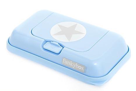Funkybox - Pequeña cajita para toallitas húmedas - Azul con ...