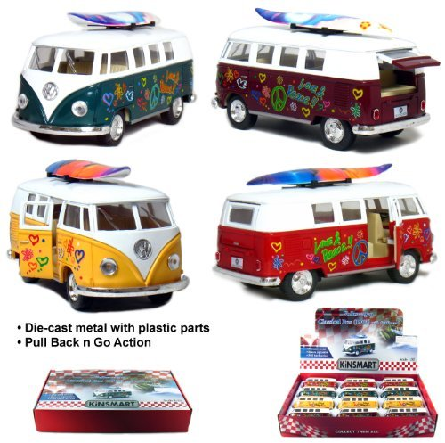 Set of 12: 1962 VW Classic Bus Flowers and Surfboard 1/32 Scale (5