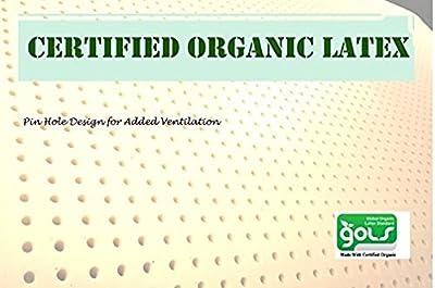 OrganicTextiles 100% Natural Latex Mattress Topper 3 inches Firm