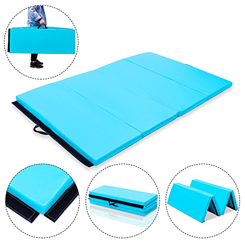 Exercise Mat 4'x6'x2 Blue Gymnastics PU Thick Folding Panel Gym Fitness with Ebook