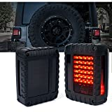 Xprite Defender Series Smoke Lens Red LED Tail Light Assembly w/Brake, Turn Signal & Back Up For Jeep Wrangler JK JKU 2007-2018