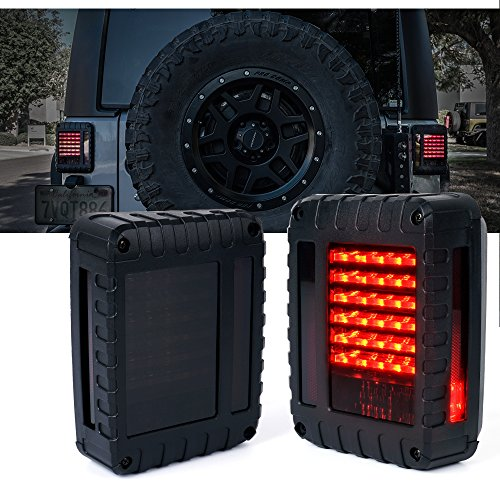 Xprite Defender Series Smoke Lens Red LED Tail Light Assembly w/Turn Signal & Back Up For Jeep Wrangler JK JKU 2007-2018 (Lens Light Tail Jeep)