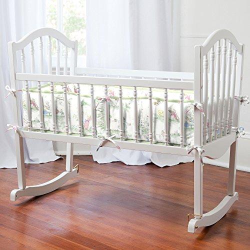 Carousel Designs Nursery Rhyme Toile Sage Cradle Bumper (Minky Cradle Bumper)