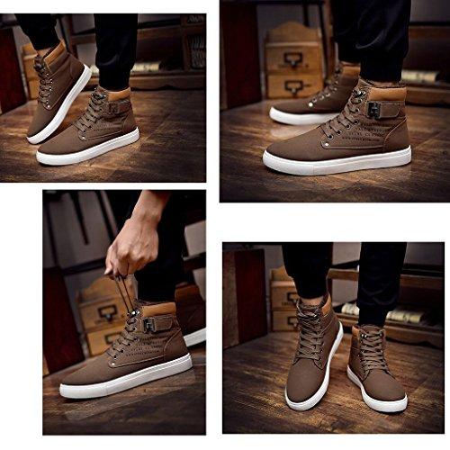 Cintura Autunno Espadrillas Fibbia Moda Scarpe della Piatte da Marrone Ginnastica Stampa con Casual Minetom Inglese Inverno Sneaker Uomo UqOpxFw8gA