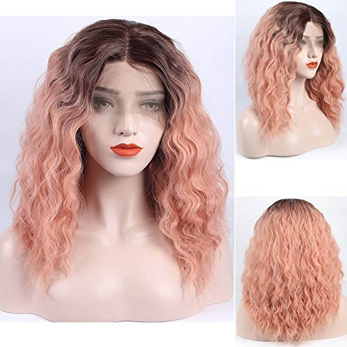 Auburn Wig Dark (Ombre Pink Short Wavy Lace Wig Bob Synthetic Lace Front Wigs Auburn Ombre Mixed Color Bob Lace Wigs Dark Brown Roots Heat Resistant Fiber Hair Half Hand Tied 16inch)