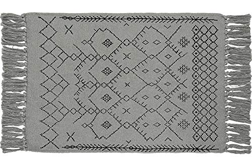 Tassel Floral Print Chindi Knot Area Rug Woven Rug, Nordic Style Runners for Bedroom, Living Room, Kitchen, Laundry Room, Sofa, Gray