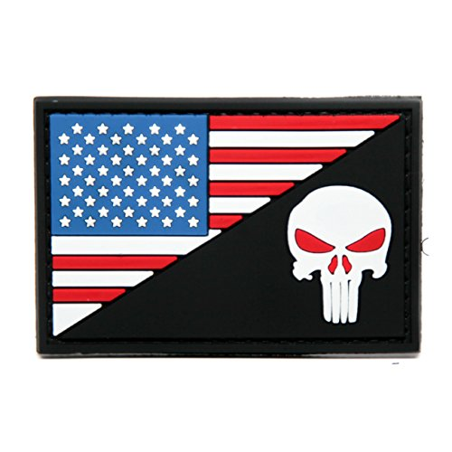 American Flag and Punisher PVC Rubber Morale Patch - USA Flag Punisher Red Eyes - Military and Airsoft Morale Patch Velcro Backed By NEO Tactical Gear