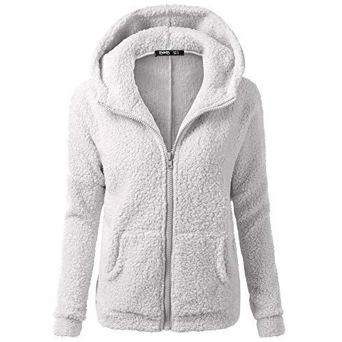 - VESNIBA New Women Hooded Sweater Coat Winter Warm Wool Zipper Cotton Outwear Light Gray