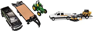 TOMY John Deere Tractor & Ford Pickup with Gooseneck Trailer & John Deere Construction Set