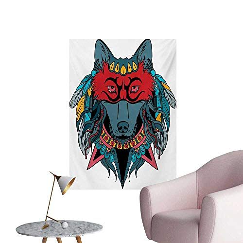 Tribal Art Decor Decals Stickers Ethnic Warrior Wolf Portrait with Mask Feathers Native American Animal ArtTeal White and Red W24 xL36 Space Poster