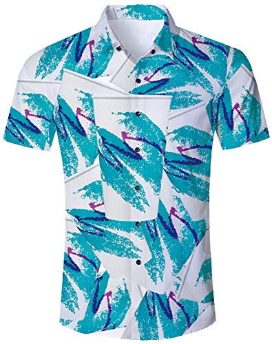 Goodstoworld Men Casual Button Up Shirts 90S 80S Clothing Big and Tall Outfit Short Sleeve Funky Costumes 3D Tropical Travel Tees Beach Novelty Blouse Top XX-Large