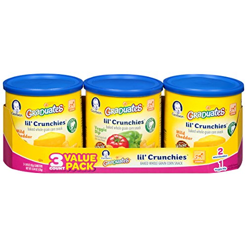 Gerber Graduates Lil Crunchies, Cheddar & Veggie Dip (3 Count, 1.48 Ounce Each)