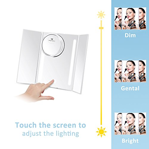 Kedsum Trifold Lighted Makeup Mirror Led Travel Vanity