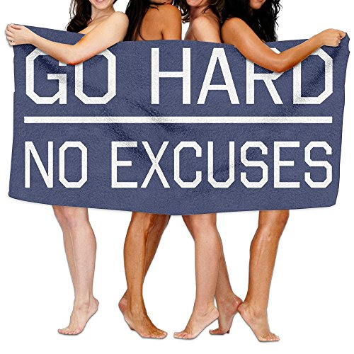 Unisex Go Hard No Excuses Beach Towels Washcloths Bath Towels For Teen Girls Adults Travel Towel Pool And Gym Use 31x51 Inches - Excuse Adult Hoody Sweatshirt