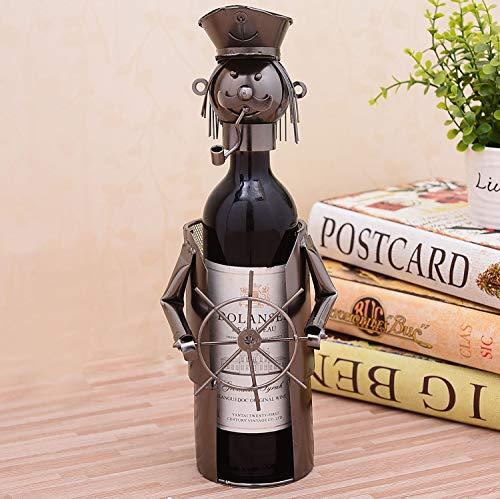 Dasanito3089 Champagne Bottle Holder Metal Captain Miniature Champagne Wine Bottle Stand Decorative Wrought Iron Art Skipper Bar Drinkware Ornament Craft Accessories ()