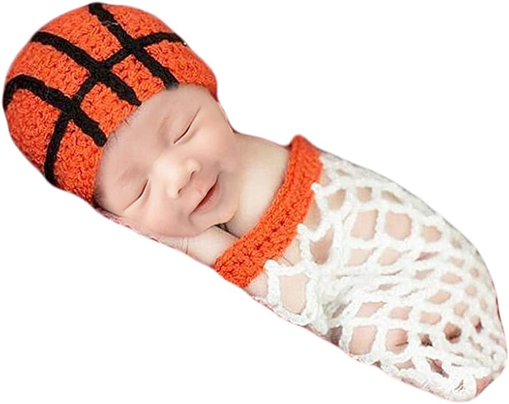NEW Newborn Baby Boy Basketball Hat and Booties Crochet infant Photo Prop Gift