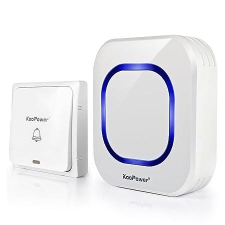 [Keine Batterie Benötigt] KooPower Funk Türklingel, 1 Plug-in Transmitter 1 Steckdosen empfänger Wasserdicht Kabellose Türkli