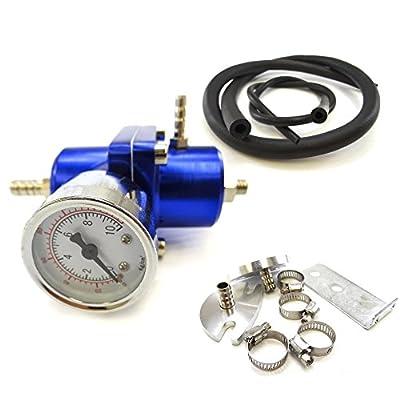 Universal Adjustable Fuel Pressure Regulator 60-140 PSI Gauge & Hose Kit Blue