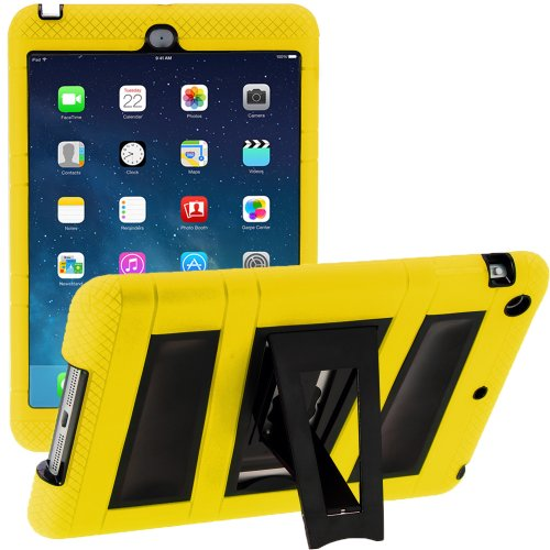 i-Blason Apple iPad Mini 2/3/4 Case with Retina Display ArmorBox 2 Layer Convertible [Hybrid] Full-Body Protection KickStand Case with Built-in Screen Protector for Kids Friendly (Yellow/Black)